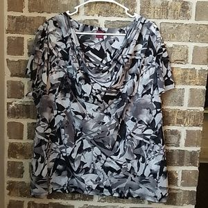 212 Collection Cowl Neck Short Sleeve Blouse